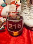Route Sign 216 Stemless Wine Glass