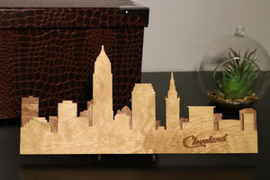 Small Cleveland Skyline With Wood Stand