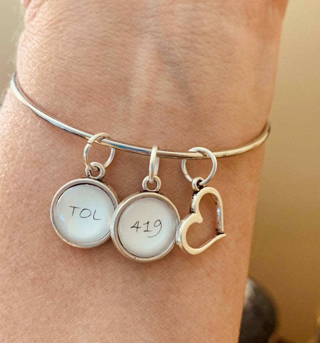 Toledo Area Code Bangle Bracelet With Charms