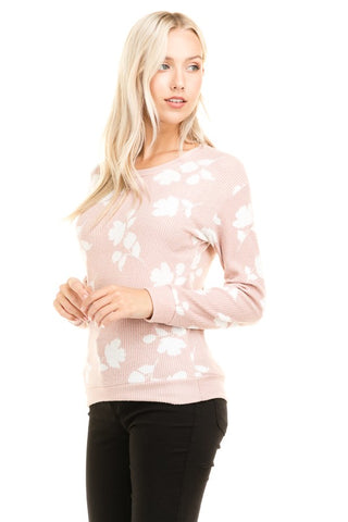 The Floral Ribbed Top