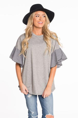 Warm Times Gingham Sleeve Top
