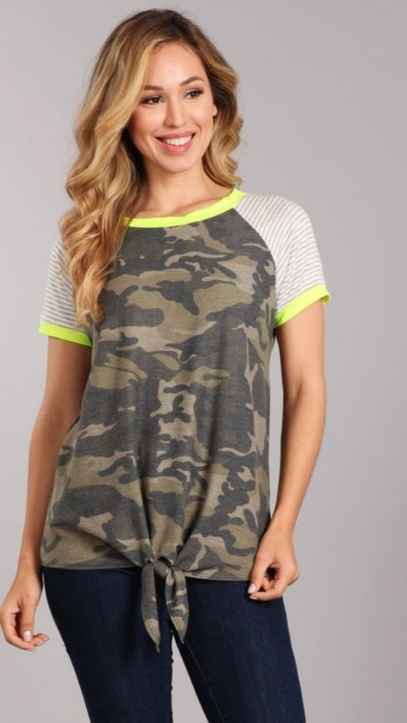Light weight knit camo tie top with neon detail