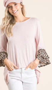Avery leopard bell sleeve top in blush