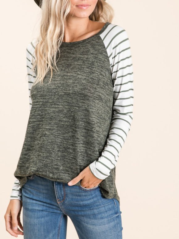 Ashley stripe sleeve raglan in olive