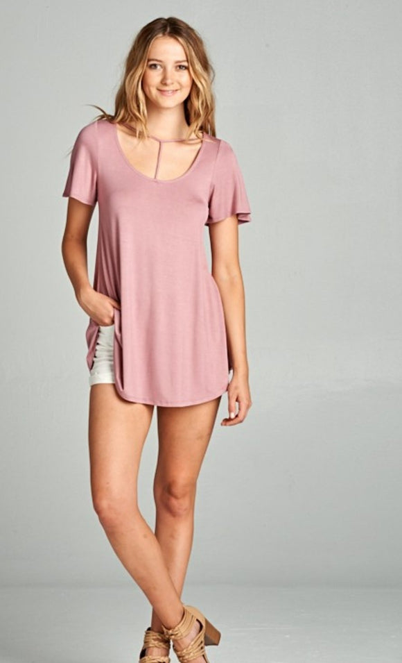 Sammy T-neck tee in mauve