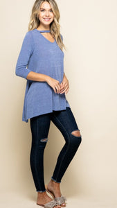 Jill keyhole tunic top in indigo
