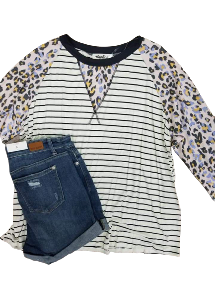 Madison leopard/stripe raglan