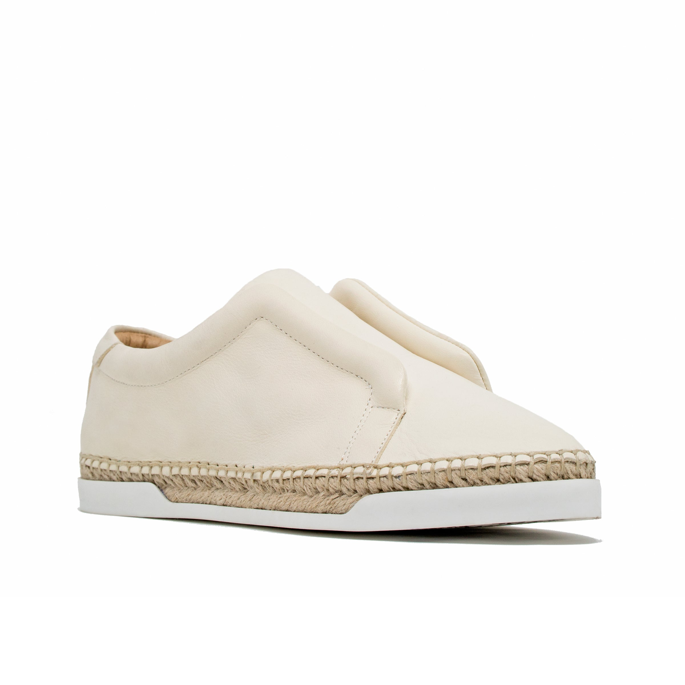 M4d3 Elizabeth White Leather Espadrille Sneaker M4d3 Shoes