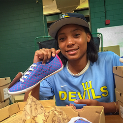 PLAN Limited Edition Mo'ne Davis Signed Lindsay Lace Up Blue Printed Sneaker