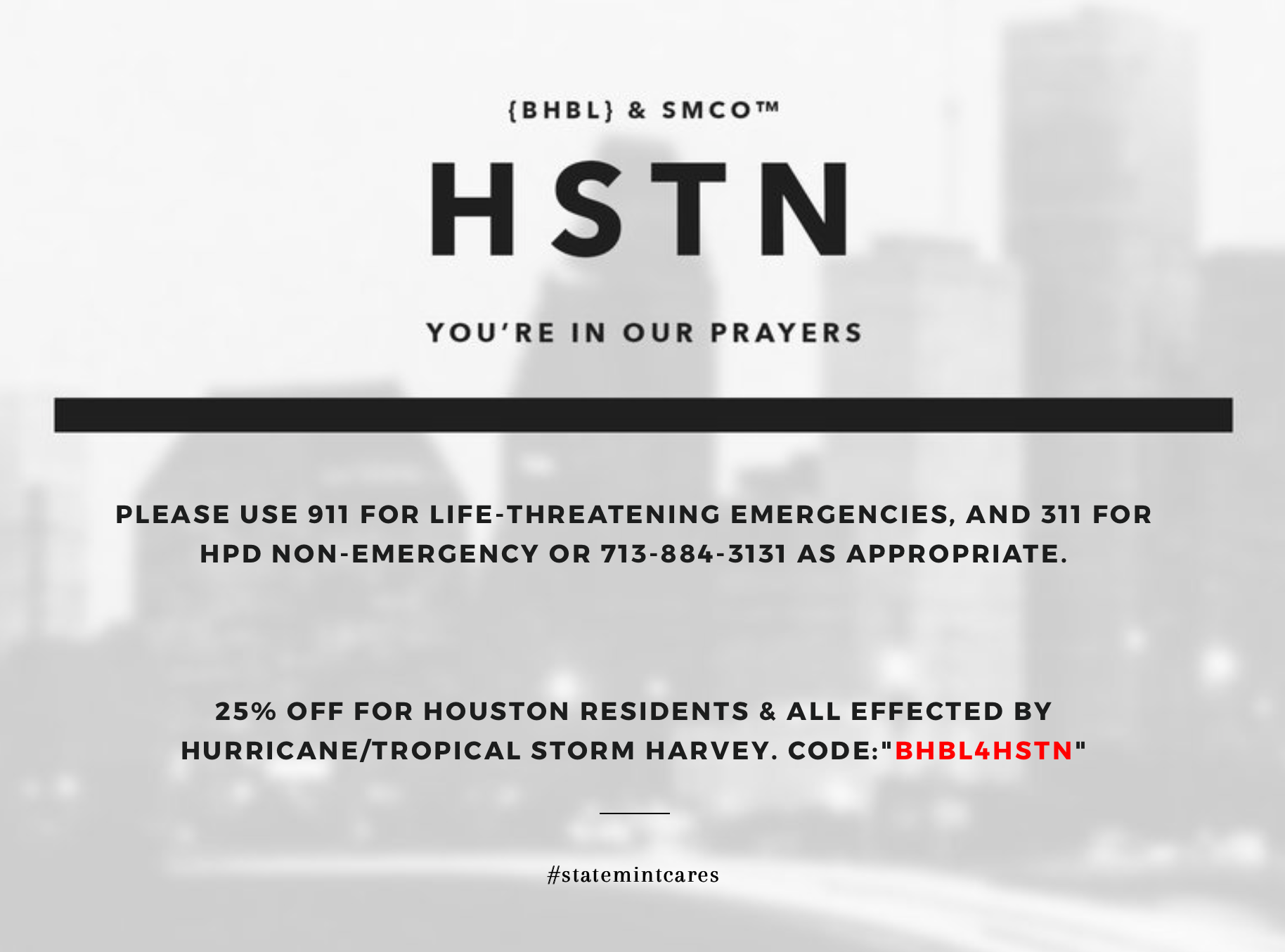 {BHBL} For Houston: Harvey Storm Help!