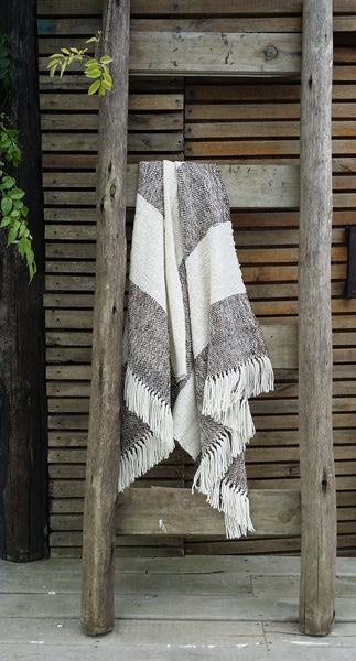 Striped Brown and White Wool Sheep Handwoven Blanket - State.Mint Home & Garden