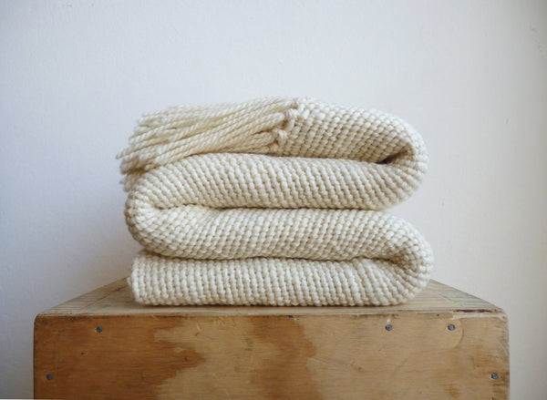 Chunky Organic Ecru Merino Wool Throw blanket - State.Mint Home & Garden