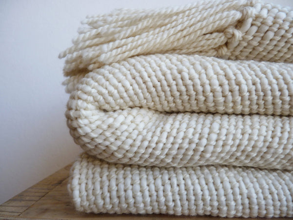 Chunky Organic Ecru Merino Wool Throw blanket