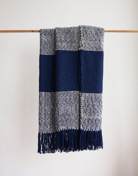 Blue Ecru Striped Wool Sheep Handwoven Blanket - State.Mint Home & Garden