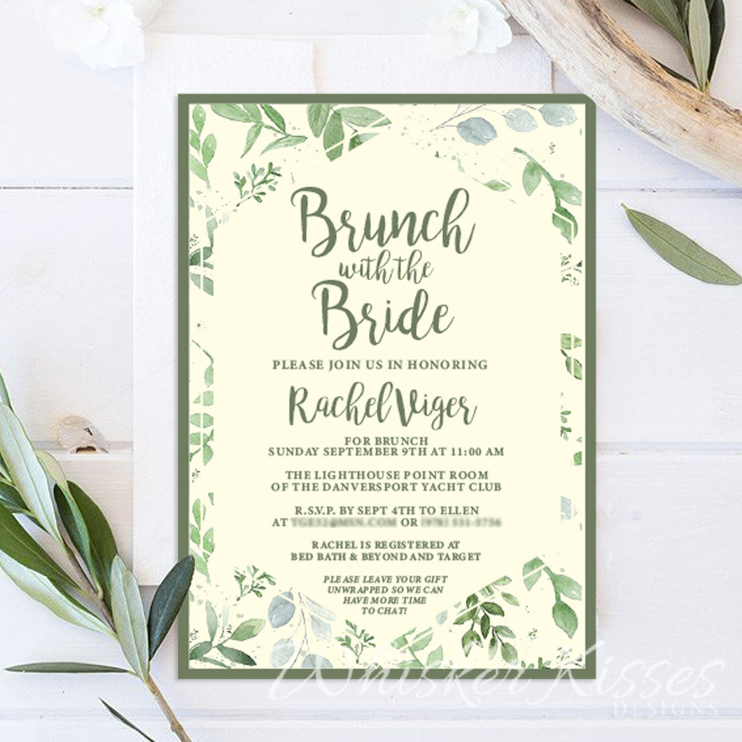 Greenery Bridal Shower Invitation - Deposit