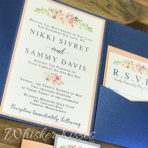 Navy Pocket Wedding Invitation and RSVP Suite - Deposit