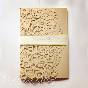 Gold Laser Cut Wedding Invitations and RSVP Suite - Deposit