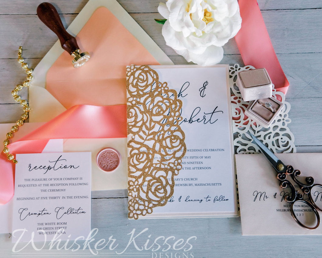 Rose Gold Glitter Laser Cut Wedding Invitations and RSVP Suite - Deposit