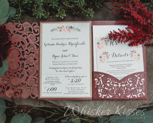 Burgundy Laser Cut Wedding Invitation - Deposit