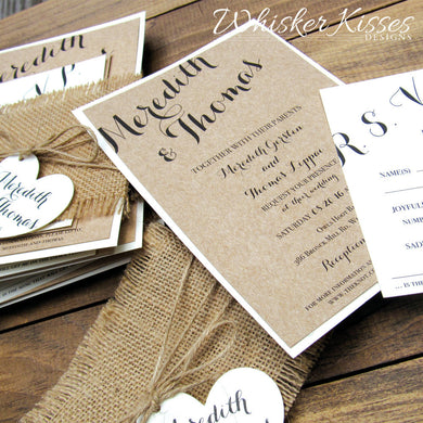 Rustic Wedding Invitation and RSVP Suite with Burlap - Deposit