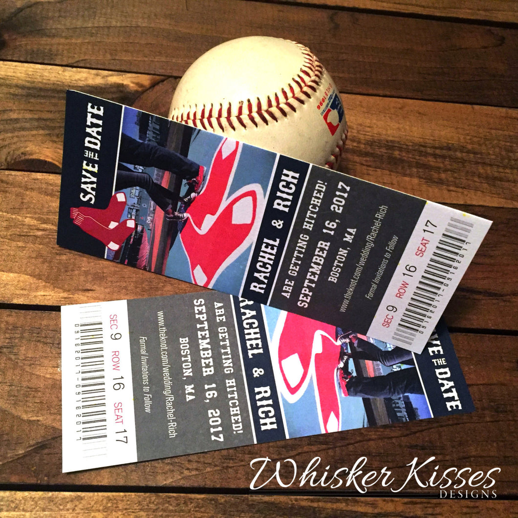 Save the Date Ticket for Sports Theme Wedding - Deposit