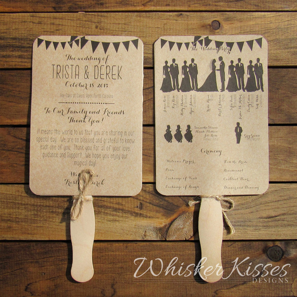 Rustic Wedding Program Fan - Deposit – Whisker Kisses Designs