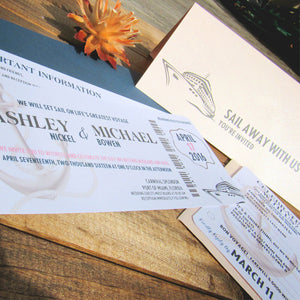 Boarding Pass Wedding Invitation or Save the Date - Deposit