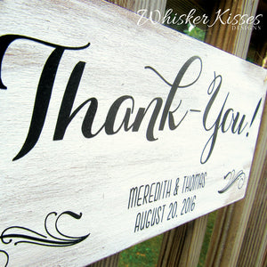 Wooden Wedding Thank you Sign - Here comes the Bride