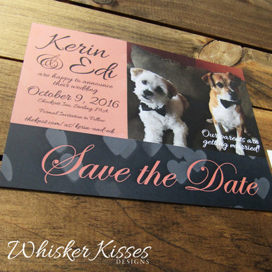 Photo Save the Date with Pet or Engagement Photo