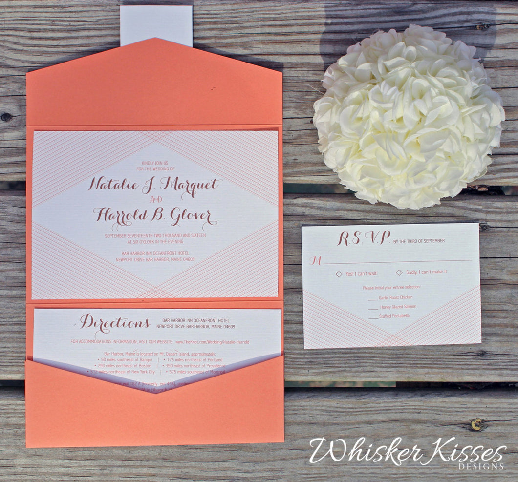 Coral Wedding Invitations and RSVP Suite - Pocket - Deposit