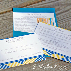Modern Geometric Wedding Invitation and RSVP Suite  - Deposit