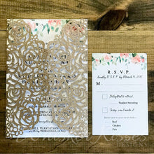 Glitter Laser Cut Wedding Invitations and RSVP Suite - Deposit