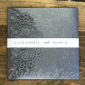 Pink and Grey Laser Cut Wedding Invitations and RSVP Suite - Deposit
