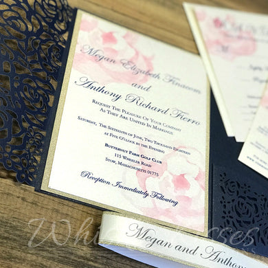Roses Laser Cut Wedding Invitations and RSVP Suite - Deposit