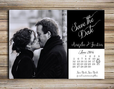 Black and White Save the Date Magnet or Postcard - Deposit