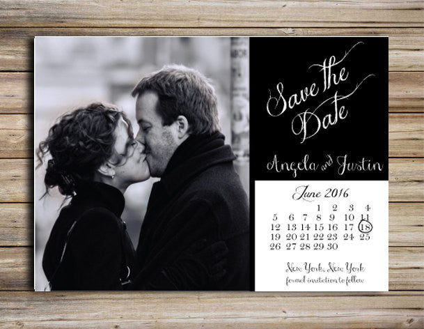 black and white save the date magnet or postcard deposit