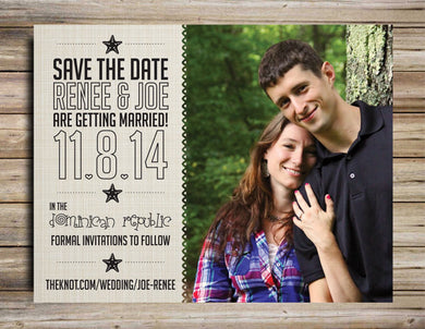 Rustic Save The Date Magnet or Postcard  - Deposit