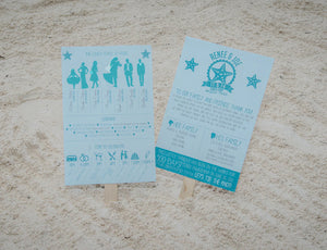 Beach Themed Wedding Program Fan- Deposit