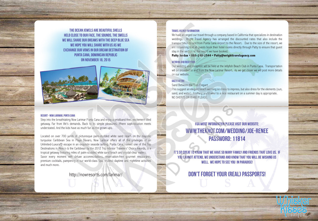 Tropical Passport Wedding Invitations - Deposit – Whisker Kisses Designs