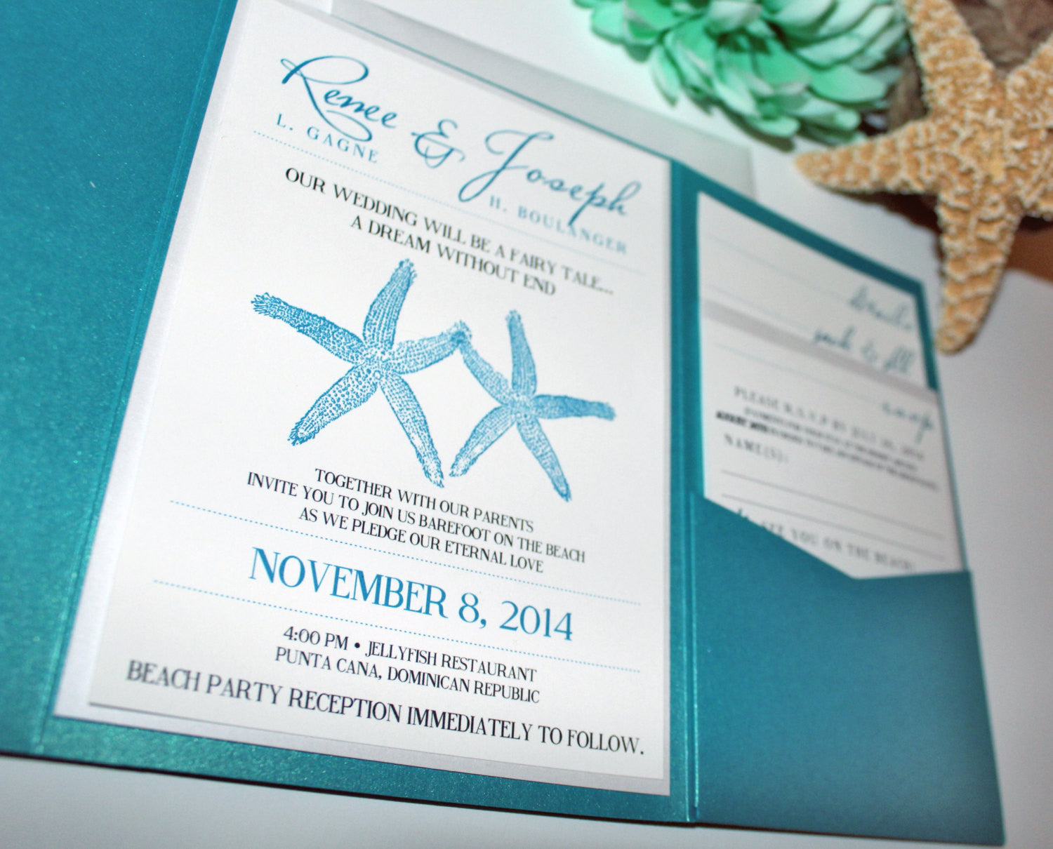Married by the Sea Pocket Wedding Invitation and RSVP Suite ...