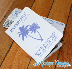 Tropical Passport Wedding Invitations - Deposit