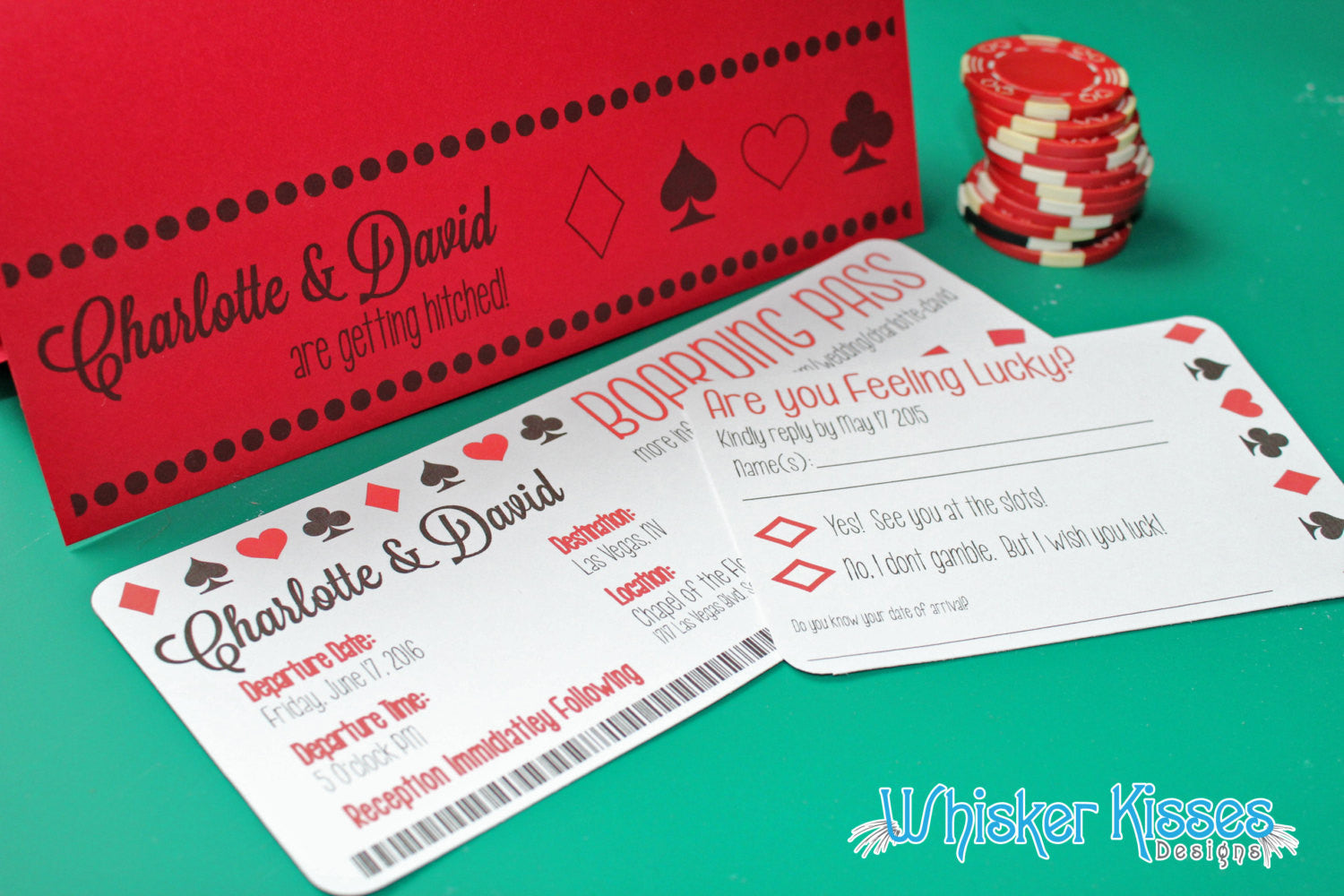 Vegas Wedding Boarding Pass Invitation or Save the Date - Deposit ...