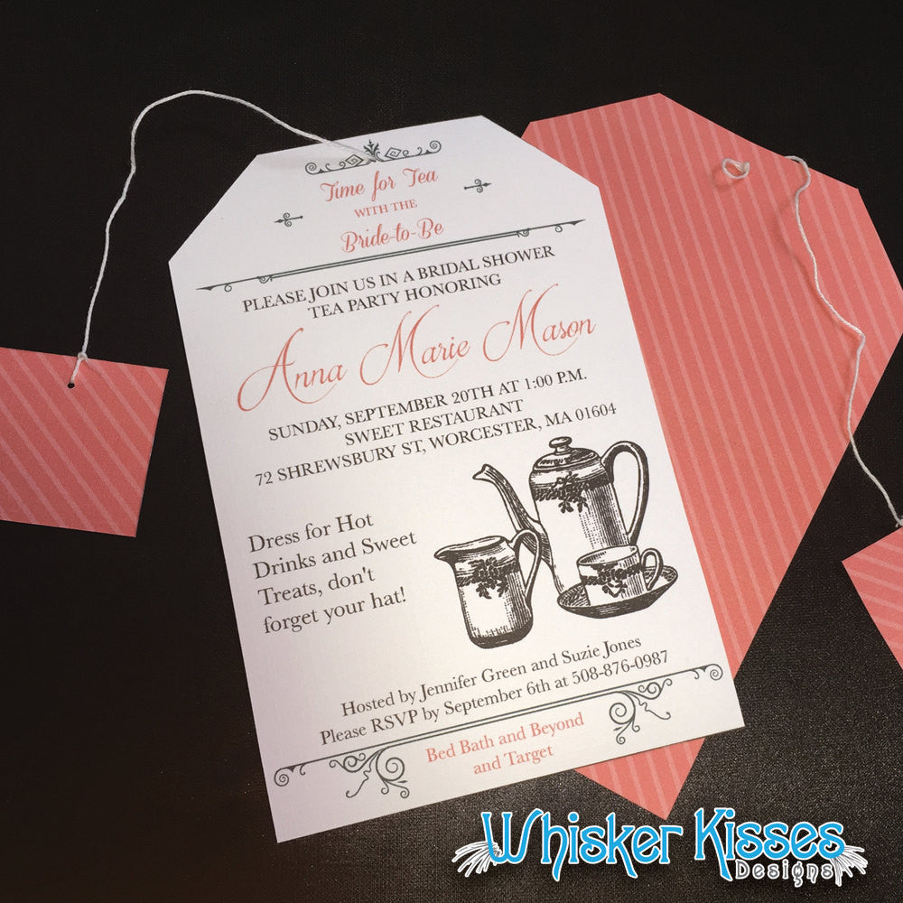 Bridal Shower Tea Party Invitations Deposit Whisker Kisses Designs