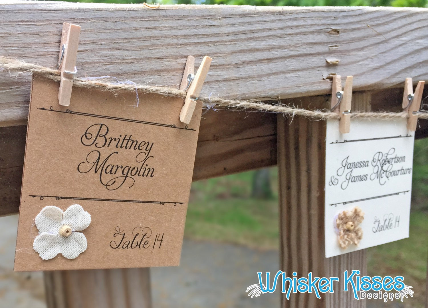 Rustic Wedding Place Cards Deposit Whisker Kisses Designs