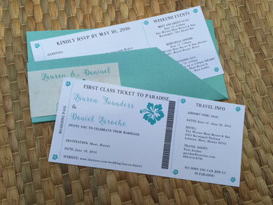 Hawaiian Wedding Bording Pass Invitation or Save the Date - Deposit