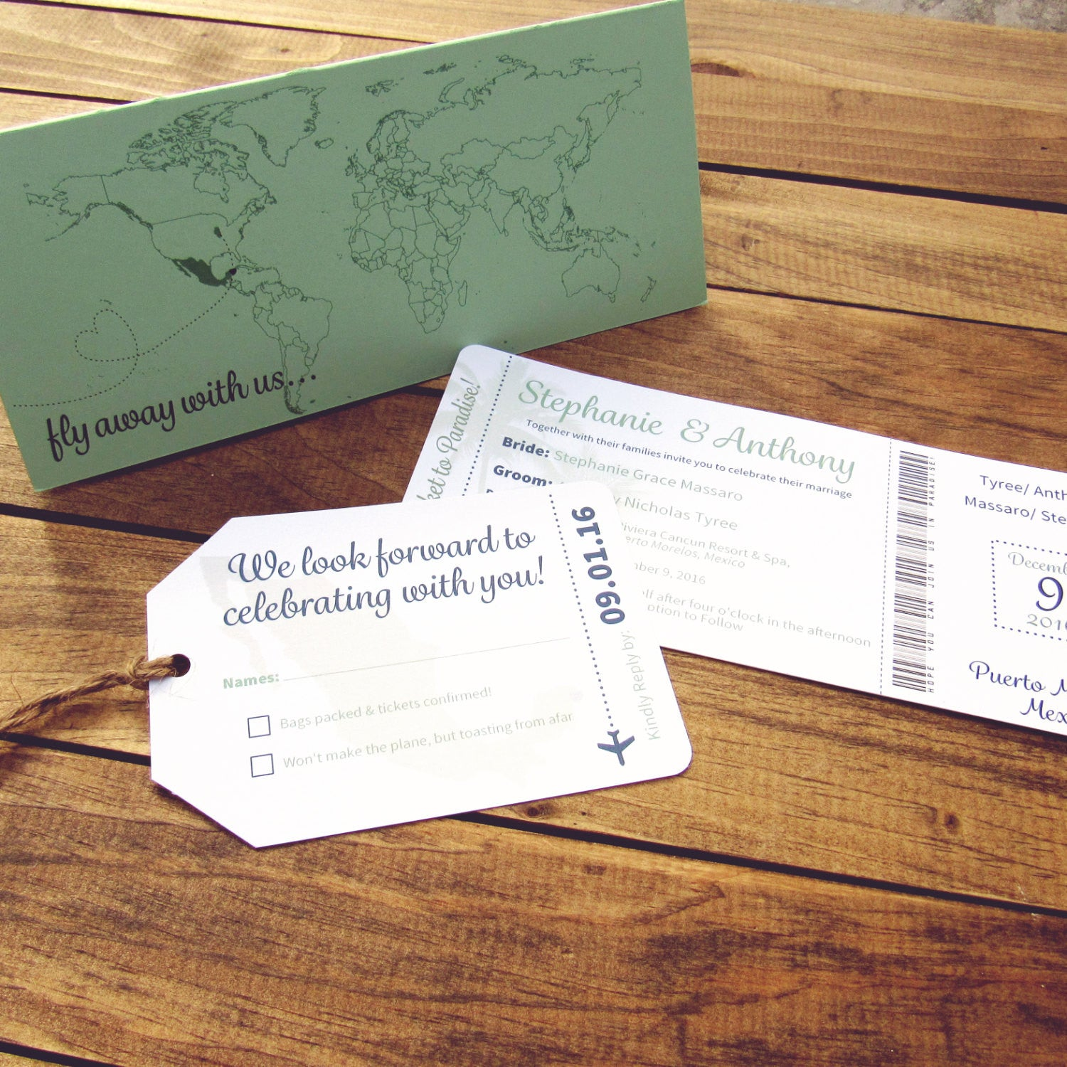 Travel Boarding Pass Wedding Invitation or Save the Date - Deposit ...
