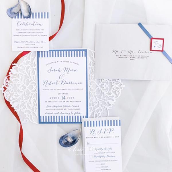 White Laser Cut Wedding Invitations and RSVP Suite - Deposit