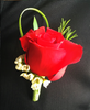 Red Rose Boutonniere - European Petals