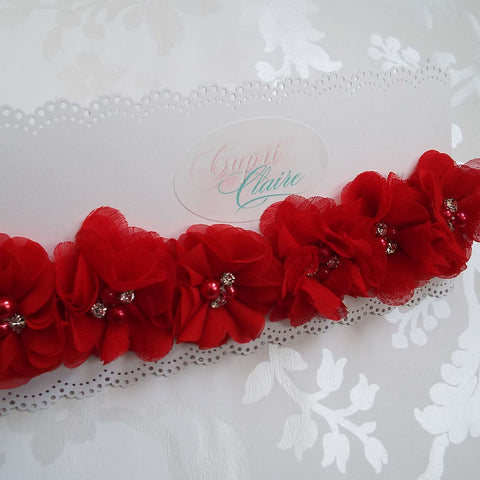 Ruby Red Floral Crown