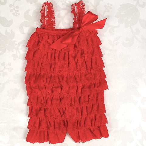 Royal Red Lace Romper